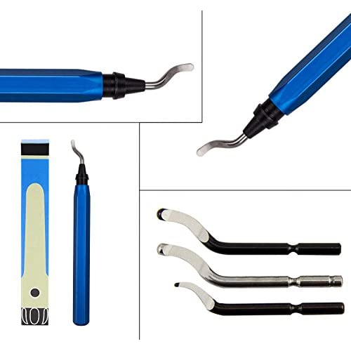 YXGOOD Hand Deburring Tool Kit Set with 15pc HSS Blade- Practical for Cutting Deburrs Wood, Plastic, Aluminum, Copper and Steel(Blue)