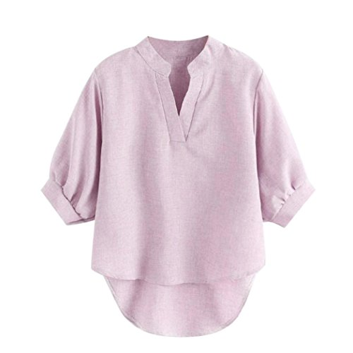 - vermers Women Shirts Ladies Short Sleeve Solid Summer Casual V Neck Blouse Top (M, Pink)