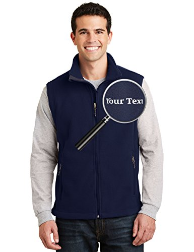 Custom Embroidered Mens Fleece Vest - Embroidery Zip Up Sleeveless Jacket For (Custom Embroidered Fleece Jacket)