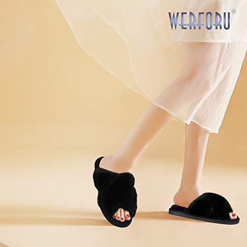 Women Cross Band Slippers, Soft Plush Fleece Slippers, Furry Cozy Open Toe House Shoes, Indoor Outdoor Faux Rabbit FurComfy Slippers,Black, 7-8