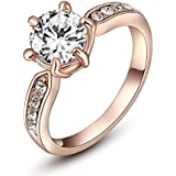 Classic crystal rose gold six claw diamond wedding ring