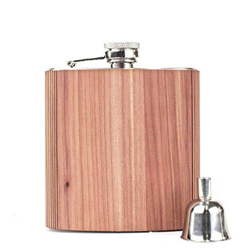 WOODCHUCK 6 oz. Wooden Flask (Cedar) - 100% Premium Wood, Stainless Steel Body
