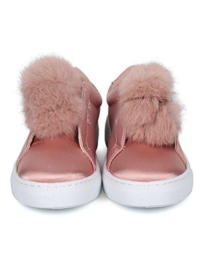 Alrisco Kvinnor Pom Pom Låg Top Sneaker - Furry Slip På Sneaker - Tillfällig Dagliga Mångsidig Sneaker - Hc90 Av Qupid Samling Mauve Satin