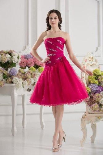 Details mit BRIDE GEORGE Abendkleider Perlen Elegantes Kurze Rot wFZF6nYq