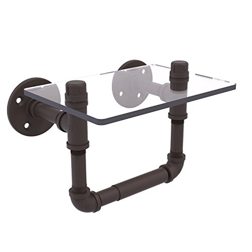 Allied Brass P-130-TPGS-ORB Pipeline Collection Toilet Tissue Holder with Glass Shelf Oil Rubbed Bronze