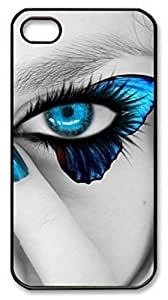 iPhone 4 4S Case, iCustomonline Blue Butterfly Eyes Shell Back Case Cover Skin for iPhone 4 4S - Black