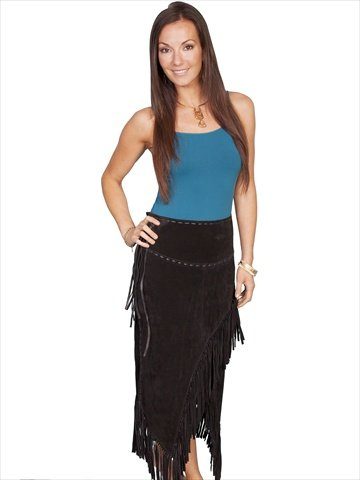 Scully Ladies Long Suede Fringe Skirt - Black by Scully
