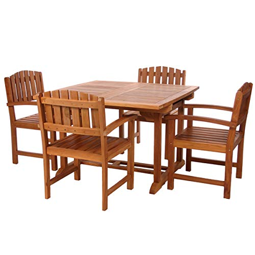 All Things Cedar TD72-20-R 5-Piece Teak Extension Patio Table Arm Chair Set with Cushions, Red