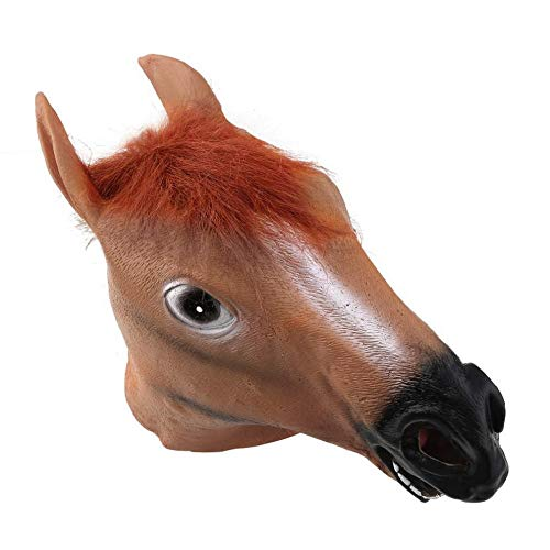 Horse Head Mask Latex Animal Costume Prop Gangnam Style Toys Party Halloween Light Brown -