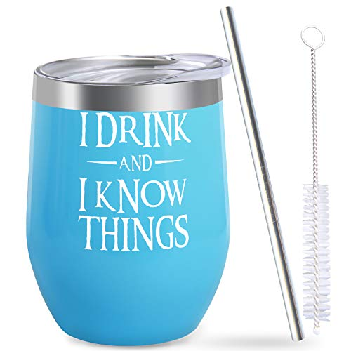 I DRINK AND I KNOW THINGS Tumbler Game of Thrones Merchandise Gift for Women Men Friend Birthday Christmas Wine Beer Coffee Lover Funny Saying Present Unique Travel Mug Cup Glass Insulated