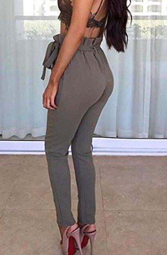 Slim Cintura Vita Lunga Modern Elastica Pantaloni Stile Pantaloni Anteriori Business Donna Primaverile Pantaloni Accogliente Cute Dunkelgrau Tasche Autunno Alta Fit Pantaloni Tempo Vita Libero Chic Inclusa 0ZOqcf