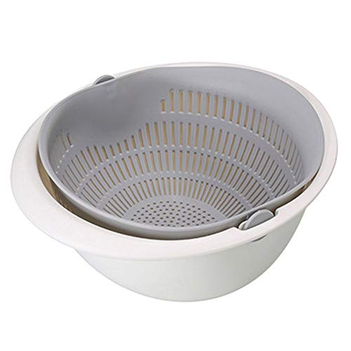 Double Drain Basket Bowl Washing Kitchen Strainer Noodles Vegetables Fruit,Space-Saver, for Fruits Vegetable Cleaning Washing Mixing,NszzJixo9 (gray) ()
