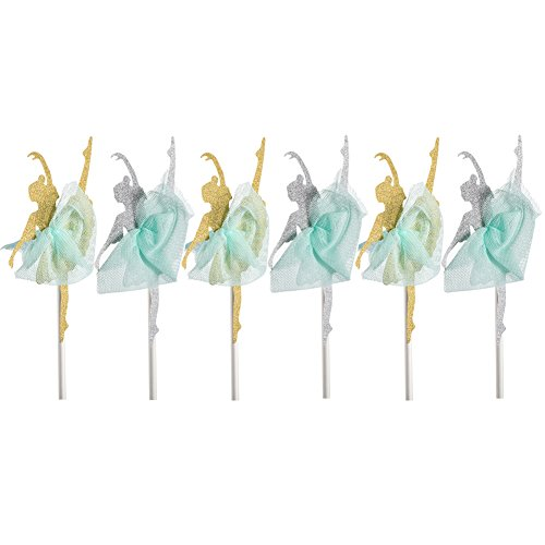 Qteland Fairy Dancer Cupcake Toppers 6PCS Decorations for Baby Showers Picnic Themed wedding Birthday Party Favors for Kids (Ballet (Decorate Cupcakes For Halloween Easy)