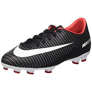 NIKE Jr. Mercurial Victory VI FG Soccer Cleat (Sz. 1.5Y) Black, White, Red