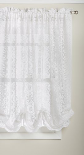 LORRAINE HOME FASHIONS Hopewell Lace Window Shade, 58-Inch by 63-Inch, White