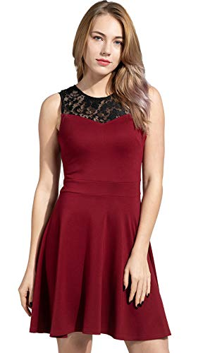Sylvestidoso Women's A-Line Sleeveless Pleated Little Wine Red Cocktail Party Dress with Black Floral Lace (XXL, Wine)