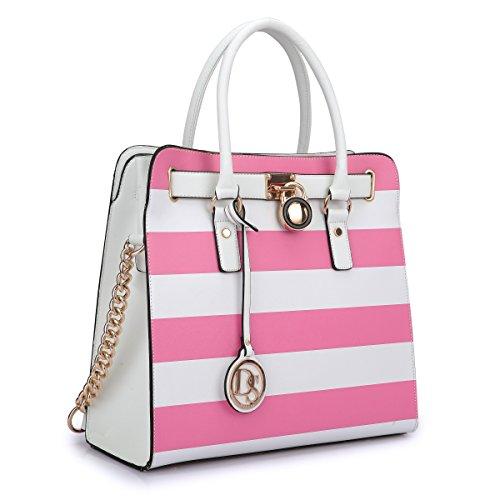 Multi Handbag Color Pink (Padlock Stripe Satchel Handbag Designer Purse Multicolor-Pink and White w/Chain Shoulder Strap)