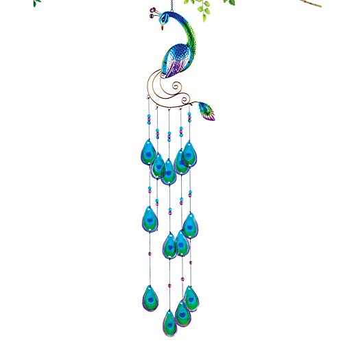 42 Top 1/2 Glass Thick - Collections Etc Beautiful Blue Peacock Sparkling Feather Glass Wind Chime - Seasonal Outdoor Decoration