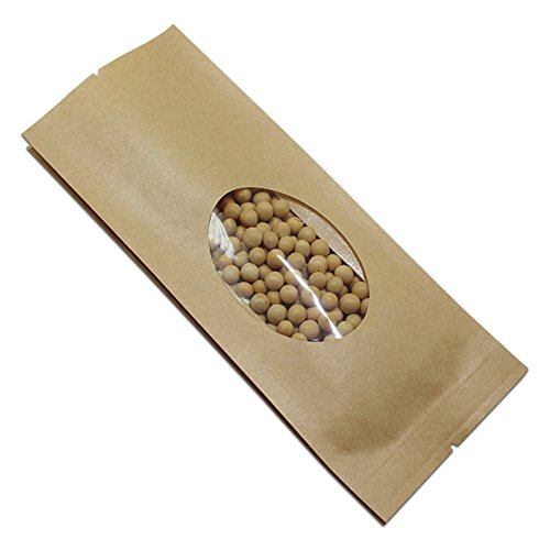 9x25+6cm (3.5x9.8+2.4 inch) Brown Kraft Paper Grocery Bulk Food Storage Pouch with Window Heat Seal Reusable Grocery Packaging Bag Bread Coffee Nuts Party Gift Favor Food Saver Pack Paper Wrap (50) (Bags Favor Window)
