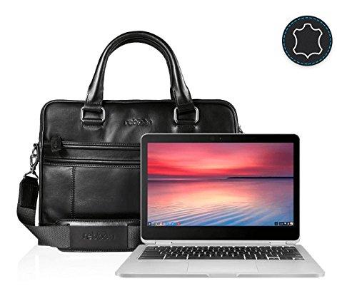 reboon Echt-Leder Laptop-Tasche in Schwarz Leder für Asus Flip C302CA 2 in 1 Touch Screen Chromebook 12 5   13 Zoll   Notebooktasche Umhängetasche   Damen/Herren - Unisex   Premium Qualität Schwarz Leder SS3FQOG0