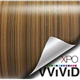 """VViViD Striped Maple Wood Grain Faux Finish Textured Vinyl Wrap Film DIY Easy to Install No Mess (6ft x 48"""")"""