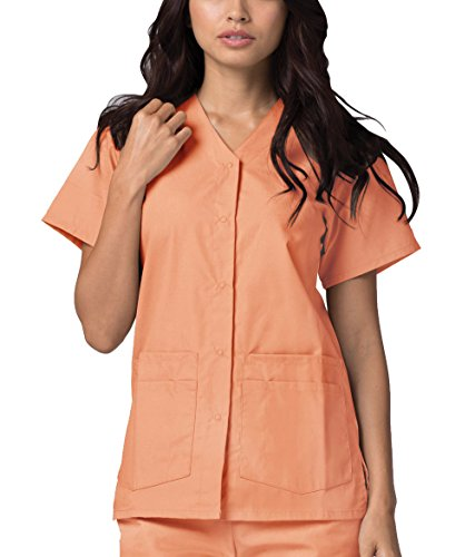 - Adar Universal Double Pocket Snap Front Top (Available in 39 Colors) - 604 - Peach - XS