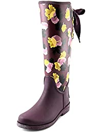 coach rain boots outlet xm56  Coach Tristee Mat Rub/f Women Round Toe Synthetic Purple Rain Boot