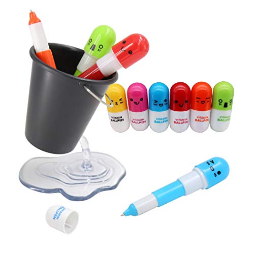 1PCS Bucket Pencil Holder + 10PCS Random Color Pill Shaped Pens, Creative Pen Holder and Cute Cartoon Pill Ballpoint Pens, Design Floating Container Cute Pen Holder Case For Desk - Black