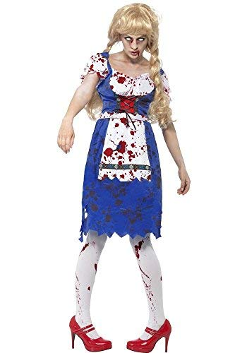 Ladies Zombie Dorothy Bavarian Oktoberfest Dead Beer Girl Halloween Fancy Dress Costume UK 8-18 (UK 16-18) ()