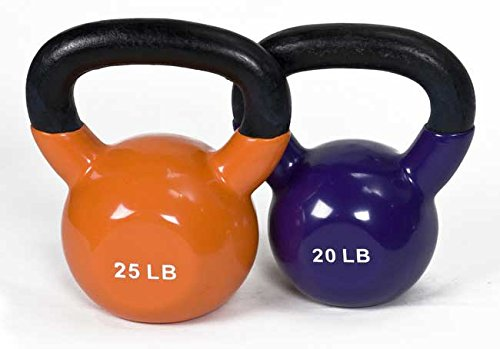 J/fit Cardio Workout Kettlebell Weights | Vinyl Coated Solid Cast Iron - 15-Pound (Blue)