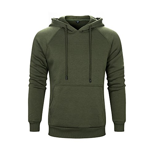 ASALI Men's Solid Casual Hoodie Sweatshirts Sports Pullover Soft Hooded Army Green L