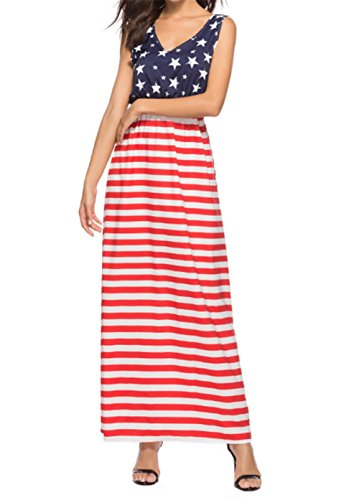 MNLYBABY Women's USA American Flag Print Sleeveless Long Maxi Dress Stars Stripe Backless Sundress Size M (Red)