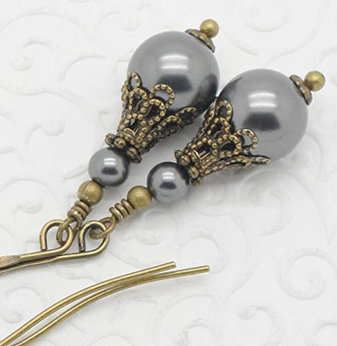 (Dark Gray Swarovski Simulated Pearl Earrings)
