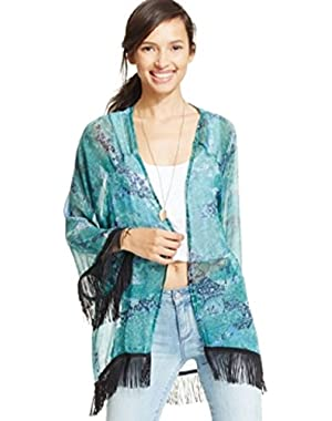 Jessica Simpson Three-quarter-sleeve Lace Frin Green Festival S