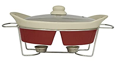 Useful UH-CD139 Oven Safe Divided Oval Casserole With Glass Lid, Metal Trivet Rack, And Tealight Warmer