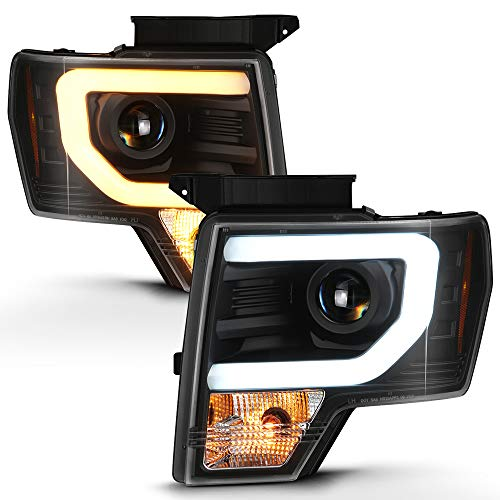 ACANII - For 2009-2014 Ford F150 Pickup Truck [Raptor SVT Style] Switchback LED Tube Projector Headlights Headlamps Pair