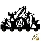 The Avengers Key Hooks 5LB(Max) Quality Black Wood Made,Easy to Install,Key Holder,Key Hanger for Wall?Entryway and Kitchen (Color: Black, Tamaño: 30cm)