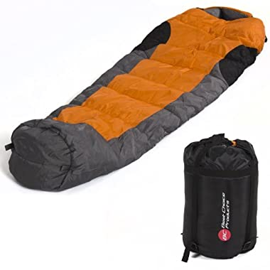 Best Choice Products Mummy Sleeping Bag with Carrying Case, Orange/Grey/Black