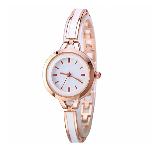 Women Gold Bracelet Quartz Watch, Round Dial Wrist Watches, Dress Watch for Ladies (Round Scale Plate Dial)