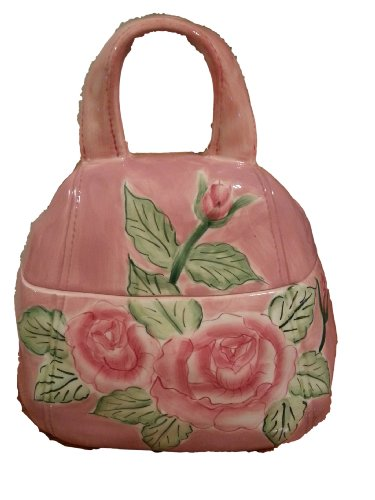 Pink Floral Handbag Cookie Jar - Ceramic Cookie Jar Handbag