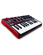 Akai Professional MPK Mini MKII | 25-Key Portable USB MIDI Keyboard With 8 Backlit Performance Pads, 8-Assignable Q-Link Knobs & A 4-Way Thumbstick