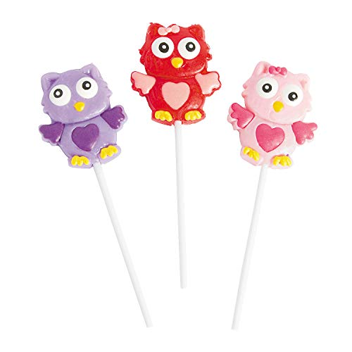 Fun Express - Valentine Owl Frosted Suckers for Valentine's Day - Edibles - Sucker & Pop - Character Suckers - Valentine's Day - 12 Pieces