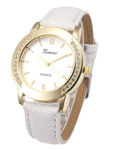 - Top Plaza Womens Mens Classic Elegant White Leather Analog Quartz Wrist Watch Arabic Numerals Rhinestones Casual Dress Watches