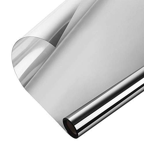 Window Heat Control Film Anti-UV One Way Mirror Film Privacy Static Glass Films Non-Adhesive Window Tint for Home and Office, 35.4 inch x 6.56 Feet -