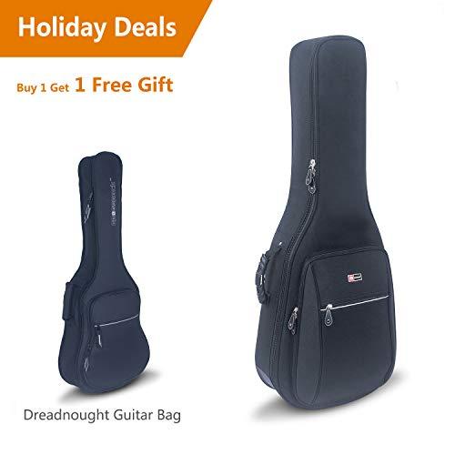 Crossrock CRDG105DBK Case Deluxe Acoustic/ Dreadnought Guitar Gig Bag, Black ()