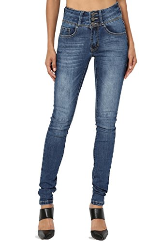 TheMogan Women's High Waist Whiskered Blue Washed Stretch Skinny Jeans Medium 0