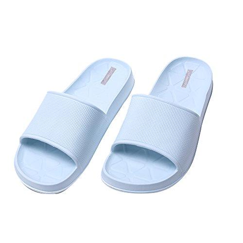 WILLIAM&KATEU Unisex Pareja Zapatillas Verano Casual Antideslizante Zapatillas Interior Piso Sandal Baño Zapatilla azul Gris