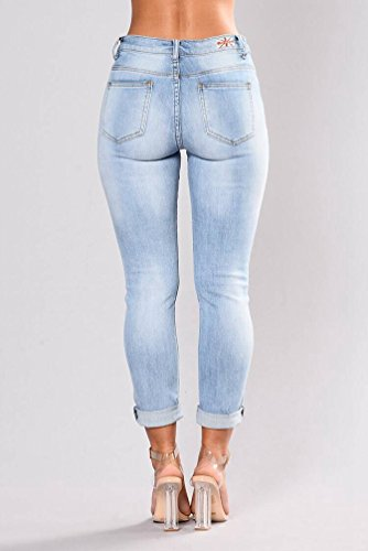 Matita Jeans Blu Strappato Denim Wanyang Della Skinny Pantaloni Slim Foro Del Donne Scarni Ricamo Fit qRgRxwAO