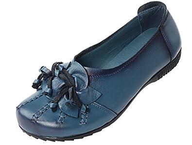 Vogstyle Damen Neu Weinlese Handgemachtes Echtes Leder Ebene Schuhe Art 2 Rot EU36/CH37 wDL8qkNUW