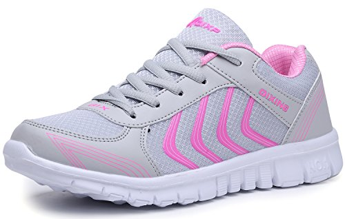 ODEMA Womens Mesh Lightweight Low Top Sports Trainers Running Walking Gym Fitness Sneakers Greypink